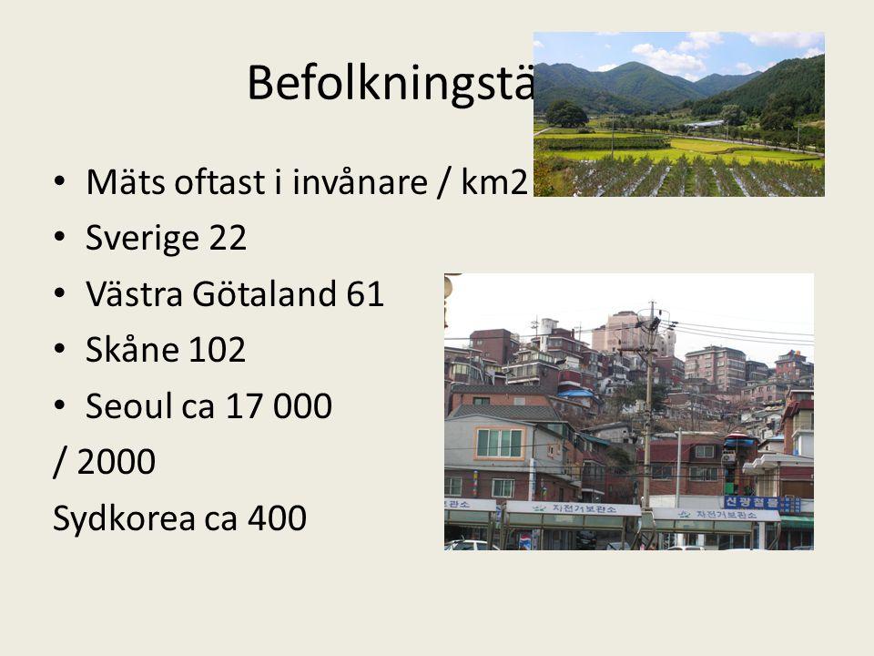 Befolkningstäthet Mäts oftast i invånare / km2 Sverige 22