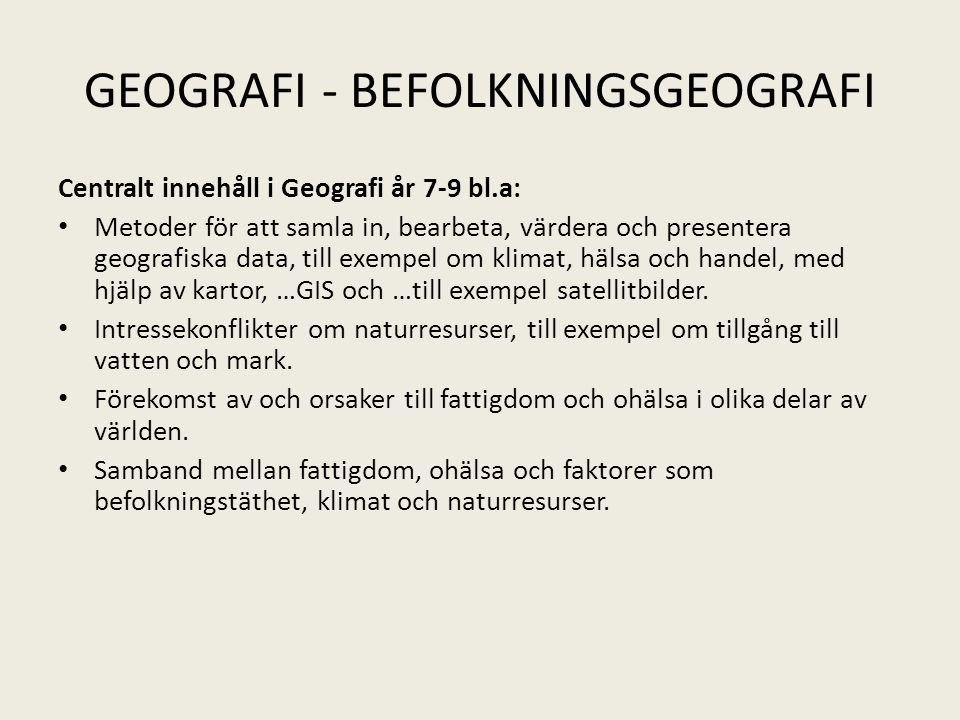 GEOGRAFI - BEFOLKNINGSGEOGRAFI