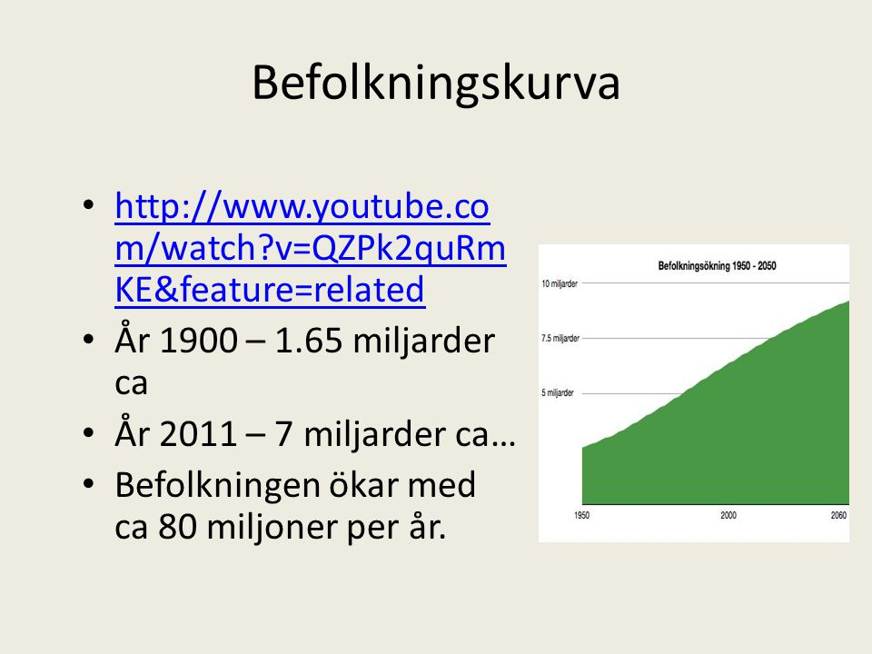 Befolkningskurva http://www.youtube.com/watch v=QZPk2quRmKE&feature=related. År 1900 – 1.65 miljarder ca.