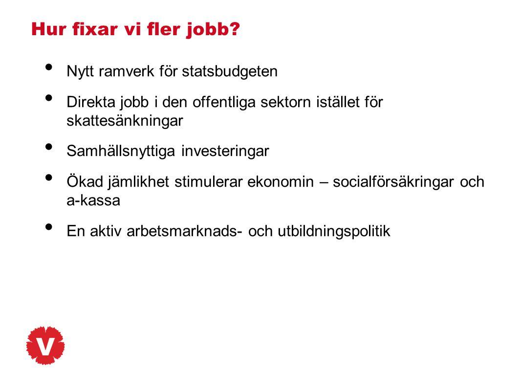 Hur fixar vi fler jobb Nytt ramverk för statsbudgeten