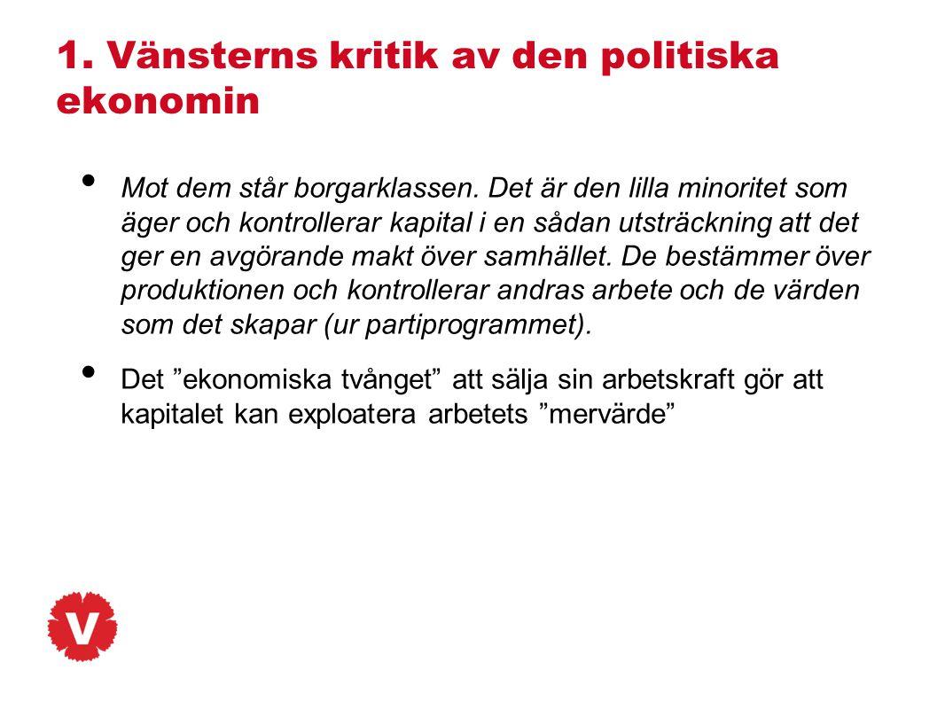 1. Vänsterns kritik av den politiska ekonomin