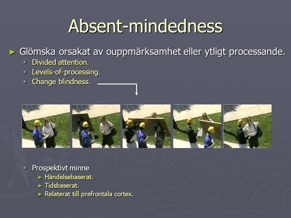Absent-mindedness Glömska orsakat av ouppmärksamhet eller ytligt processande. Divided attention. Levels-of-processing.