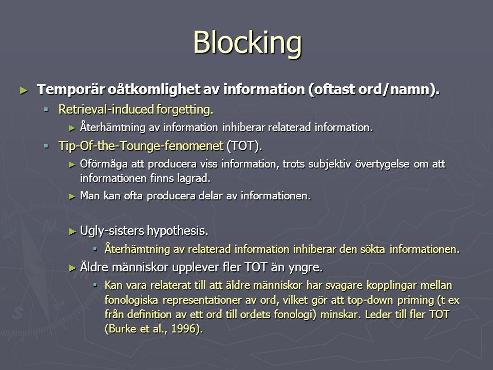 Blocking Temporär oåtkomlighet av information (oftast ord/namn).