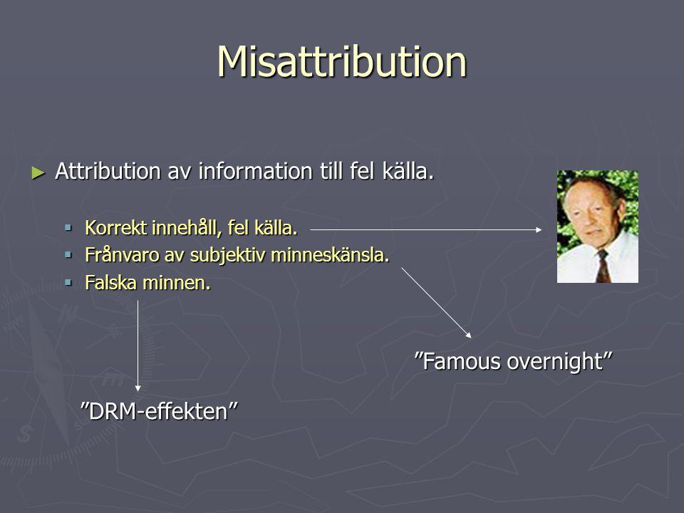 Misattribution Attribution av information till fel källa.