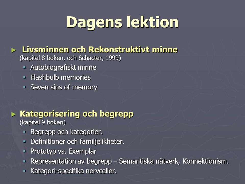 Dagens lektion Livsminnen och Rekonstruktivt minne (kapitel 8 boken, och Schacter, 1999)