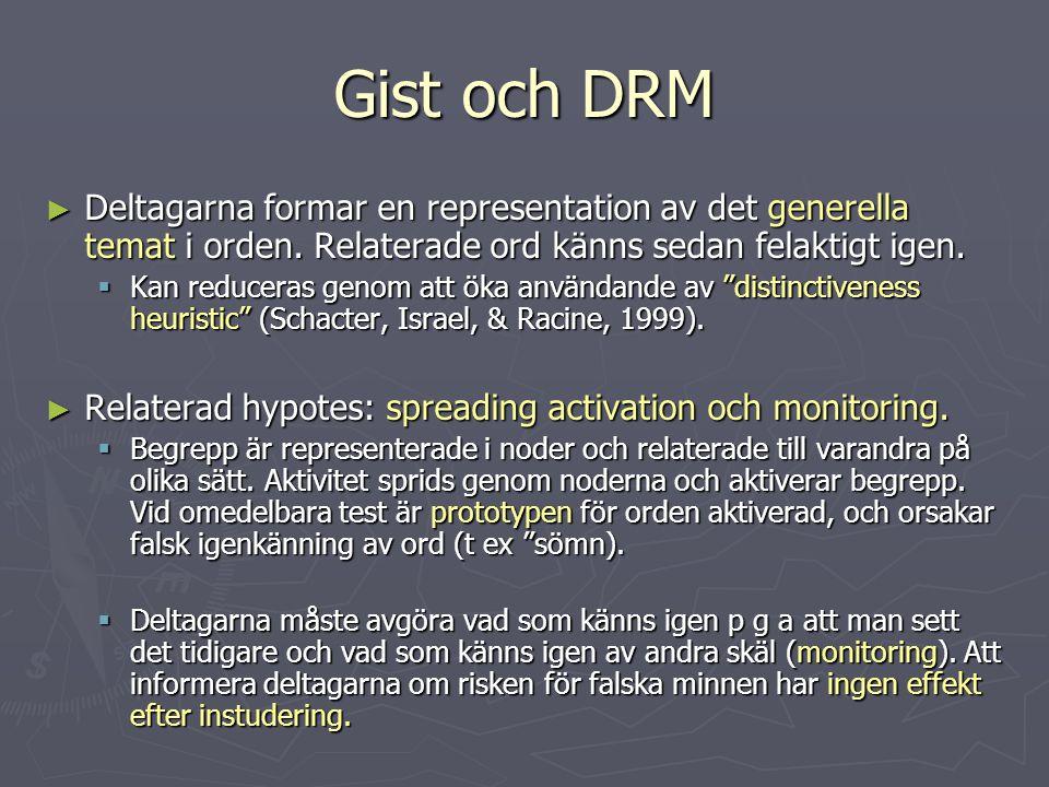 Gist och DRM Deltagarna formar en representation av det generella temat i orden. Relaterade ord känns sedan felaktigt igen.