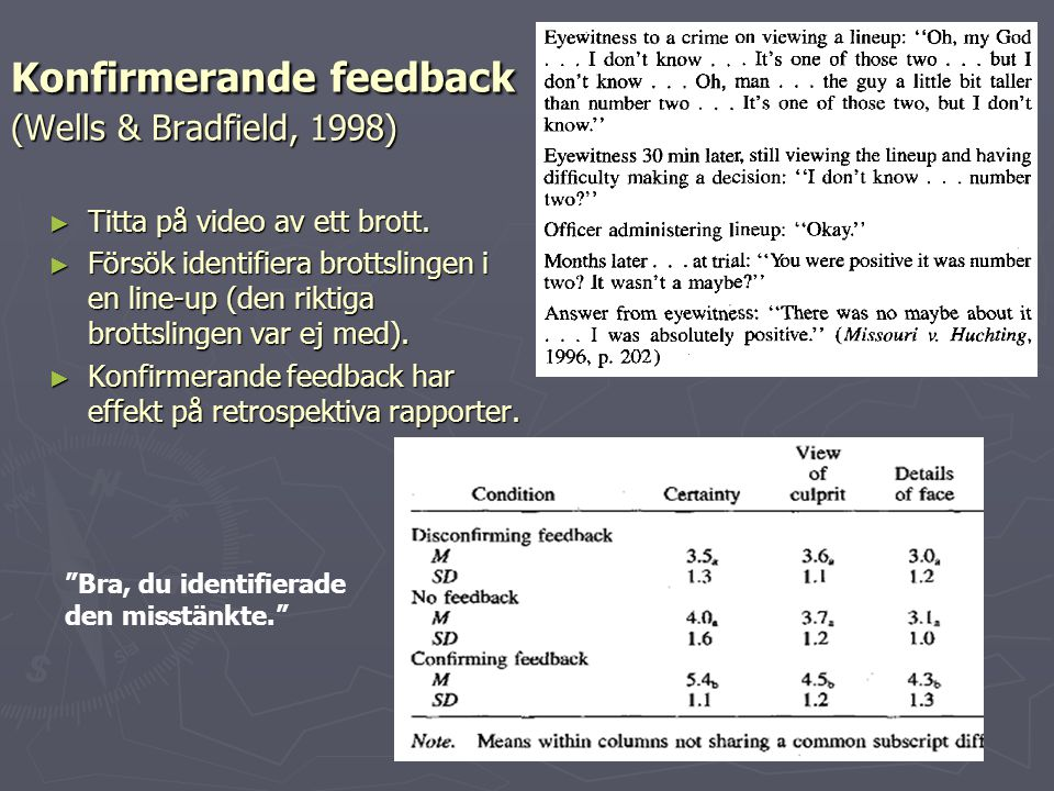 Konfirmerande feedback (Wells & Bradfield, 1998)