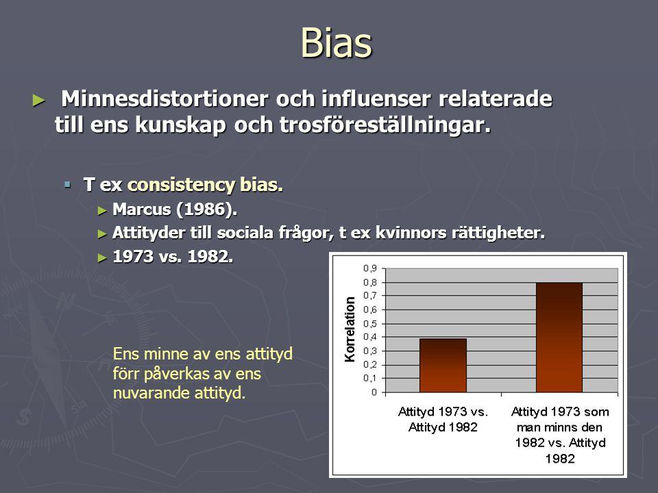 Bias Minnesdistortioner och influenser relaterade till ens kunskap och trosföreställningar. T ex consistency bias.