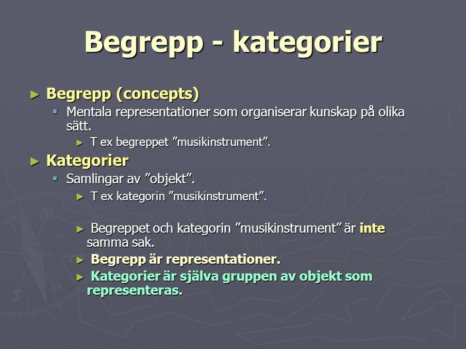 Begrepp - kategorier Begrepp (concepts) Kategorier