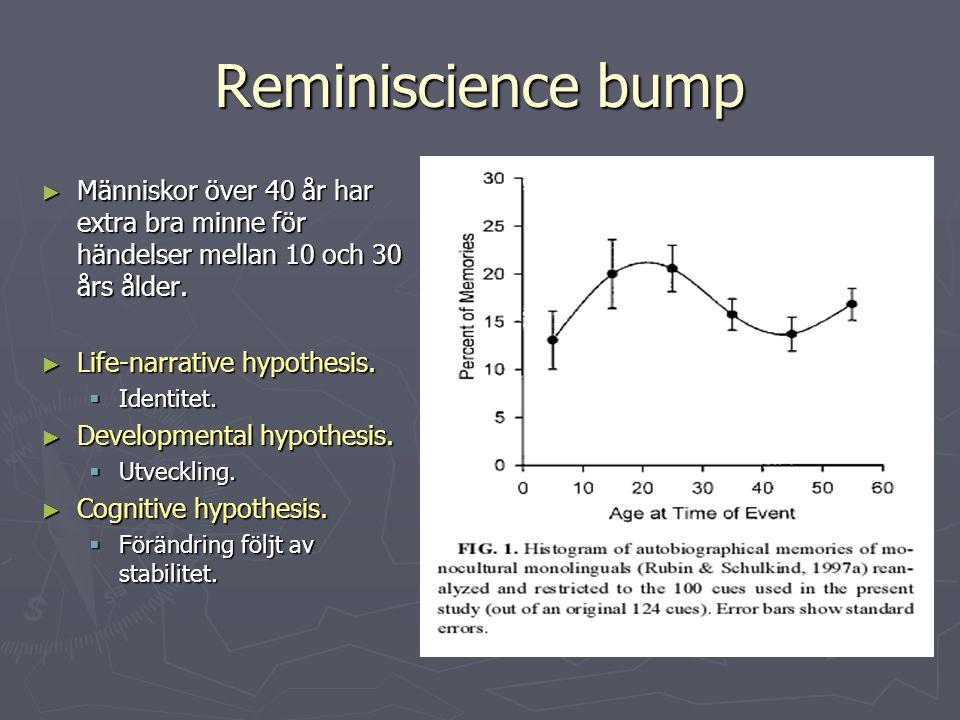 Reminiscience bump Människor över 40 år har extra bra minne för händelser mellan 10 och 30 års ålder.