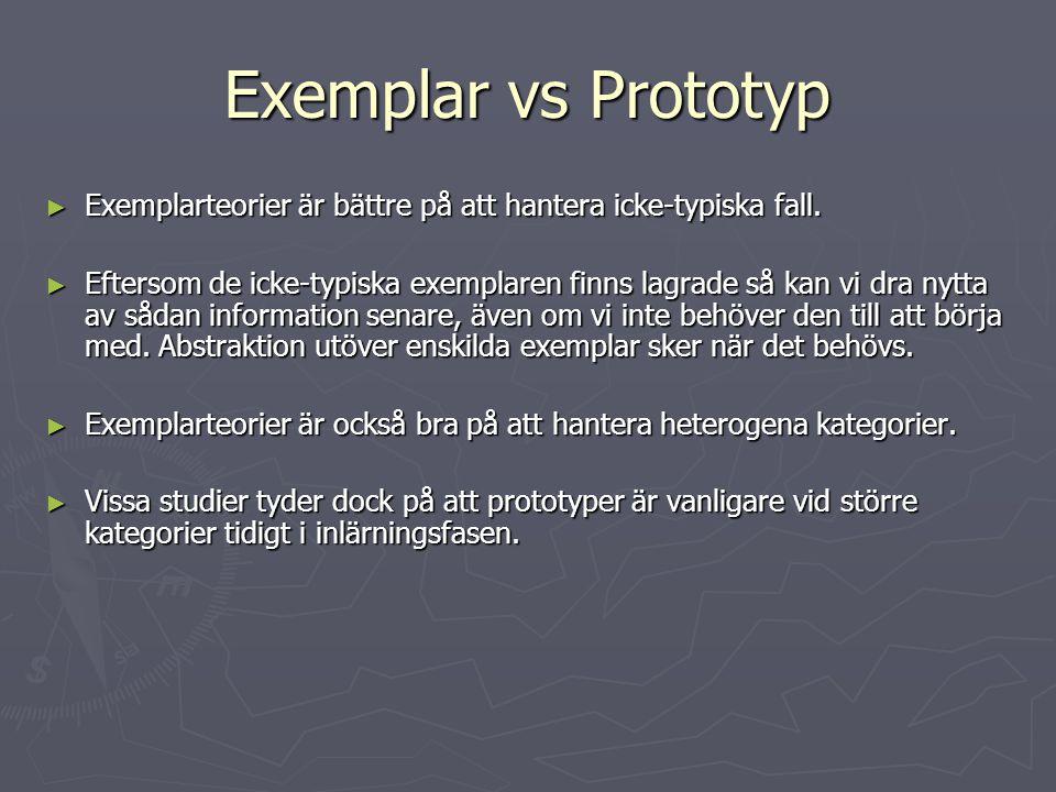 Exemplar vs Prototyp Exemplarteorier är bättre på att hantera icke-typiska fall.