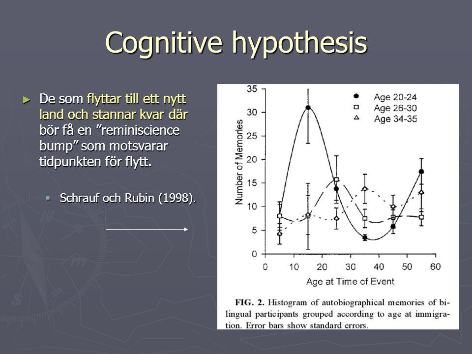 Cognitive hypothesis De som flyttar till ett nytt land och stannar kvar där bör få en reminiscience bump som motsvarar tidpunkten för flytt.