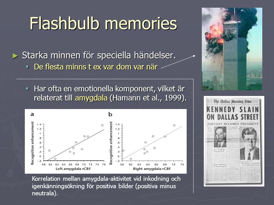 Flashbulb memories Starka minnen för speciella händelser.