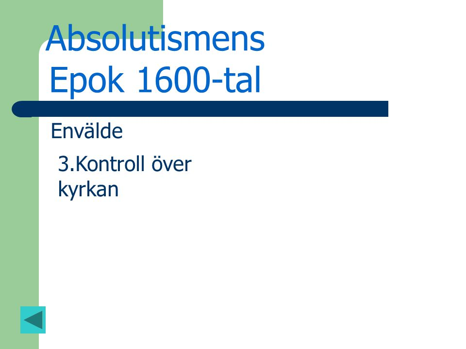 Absolutismens Epok 1600-tal