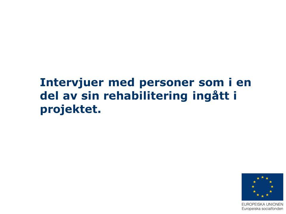 Intervjuer med personer som i en del av sin rehabilitering ingått i projektet.