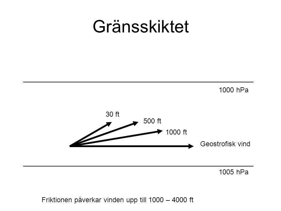 Gränsskiktet 1000 hPa 30 ft 500 ft 1000 ft Geostrofisk vind 1005 hPa