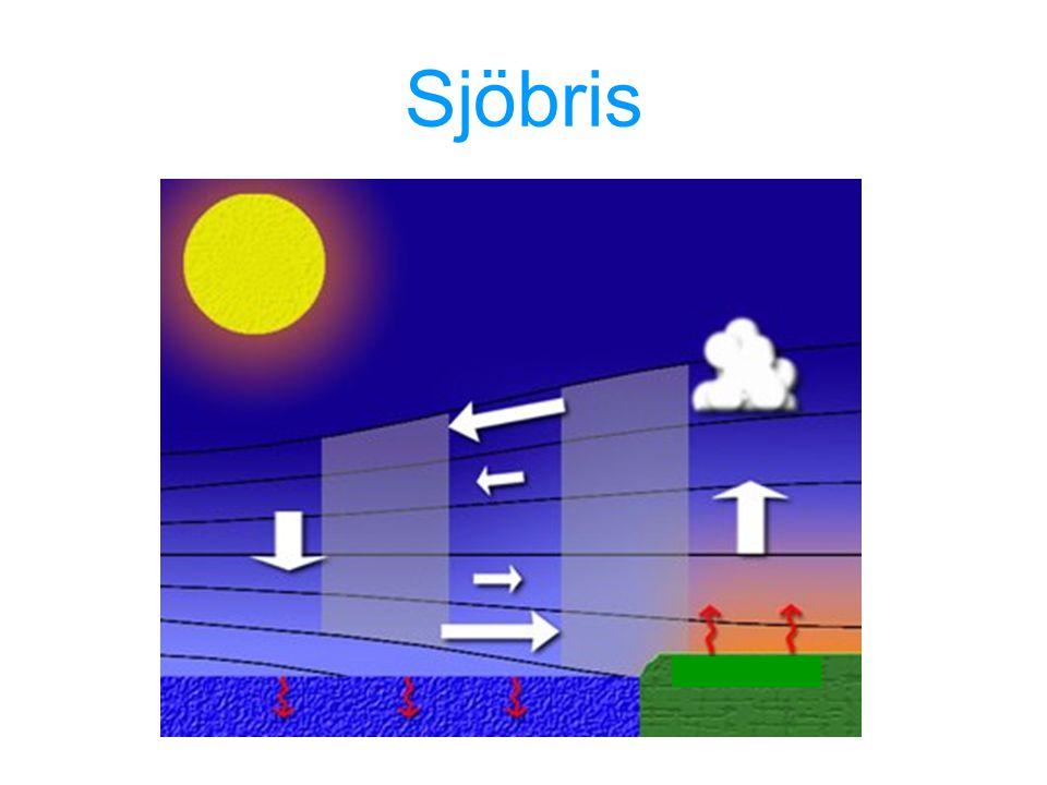 Sjöbris Nämn utbredning och vindvridning (höjd 3000 -6000 ft, 20 – 50 km) nämn landbris Cold water