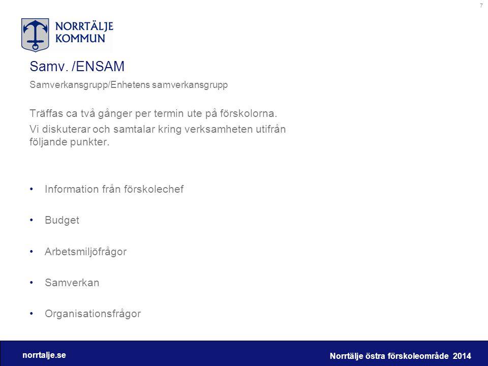 Samv. /ENSAM Träffas ca två gånger per termin ute på förskolorna.