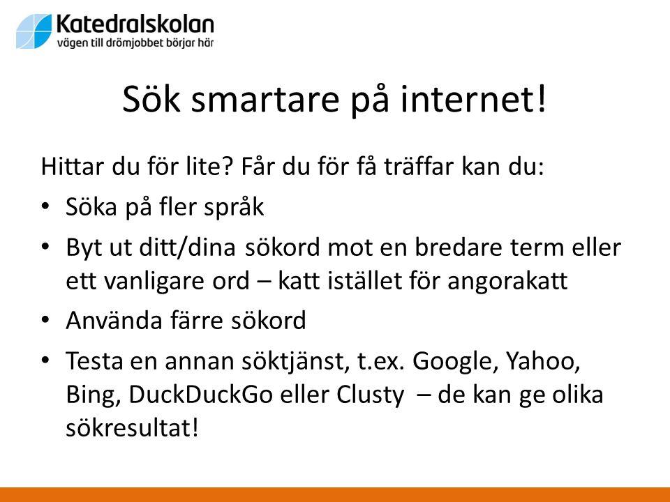 Sök smartare på internet!