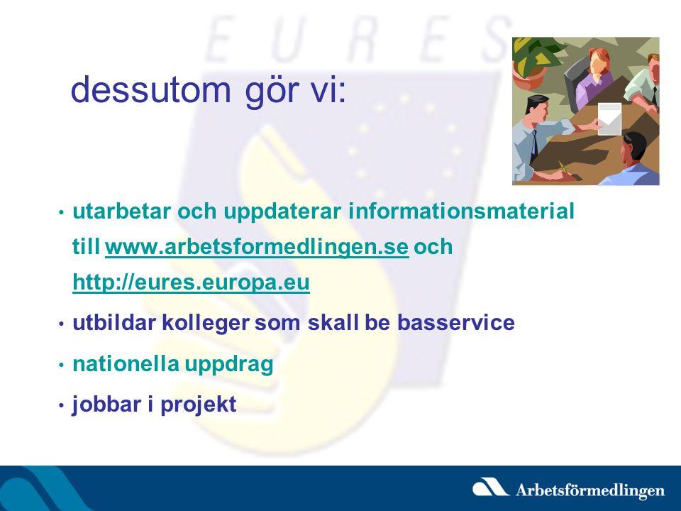 dessutom gör vi: utarbetar och uppdaterar informationsmaterial till www.arbetsformedlingen.se och http://eures.europa.eu.