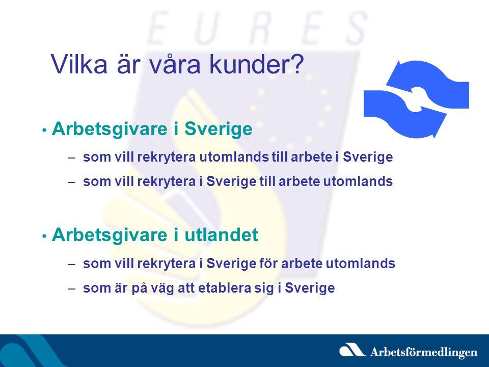 Vilka är våra kunder Arbetsgivare i Sverige Arbetsgivare i utlandet