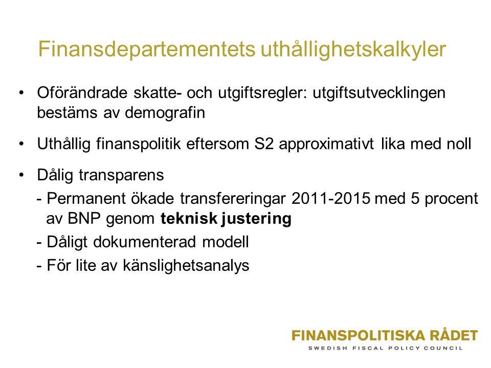 Finansdepartementets uthållighetskalkyler