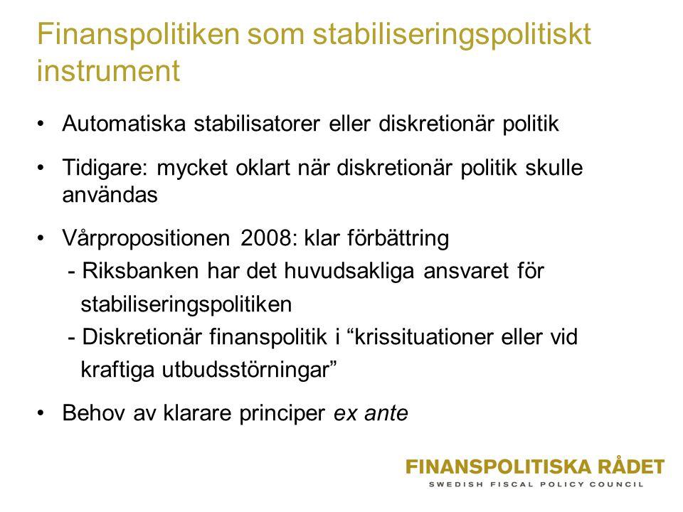 Finanspolitiken som stabiliseringspolitiskt instrument