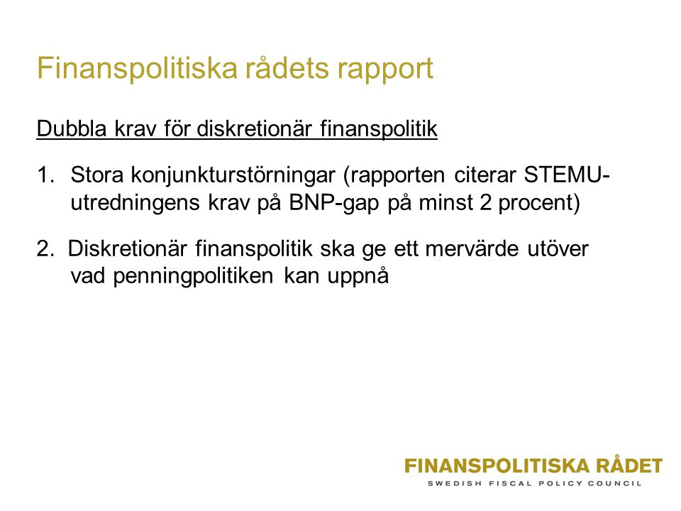Finanspolitiska rådets rapport