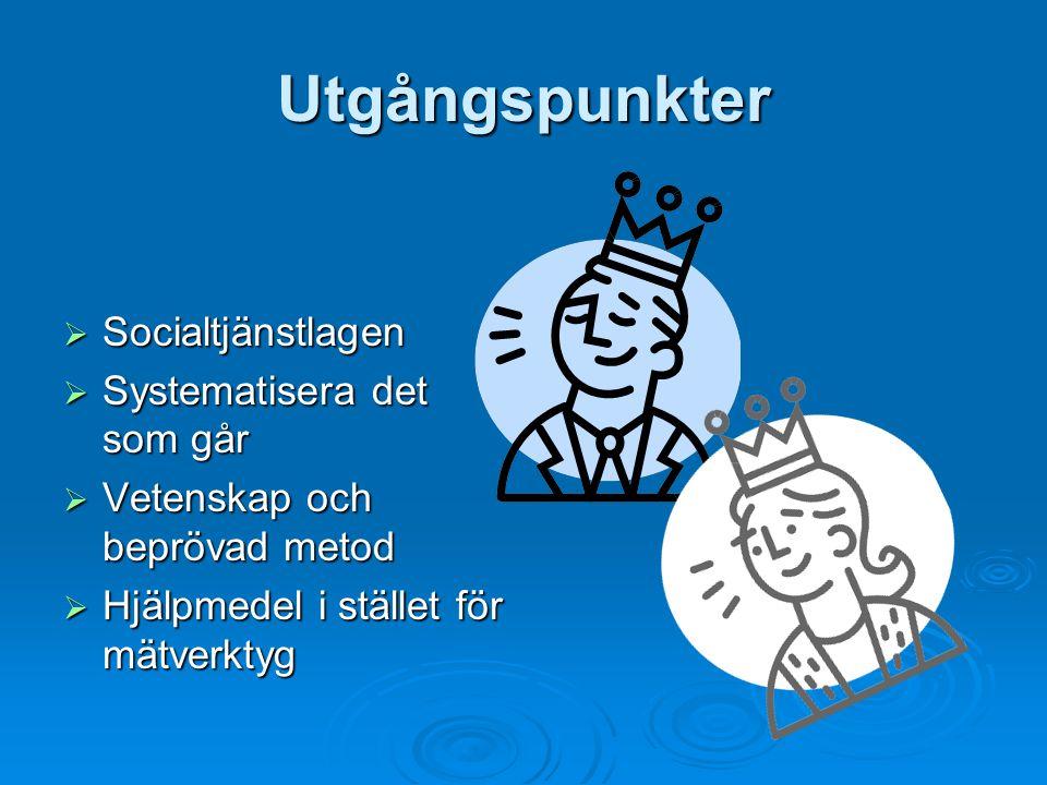 Utgångspunkter Socialtjänstlagen Systematisera det som går