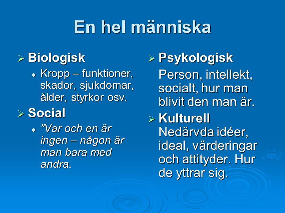 En hel människa Biologisk Social Psykologisk