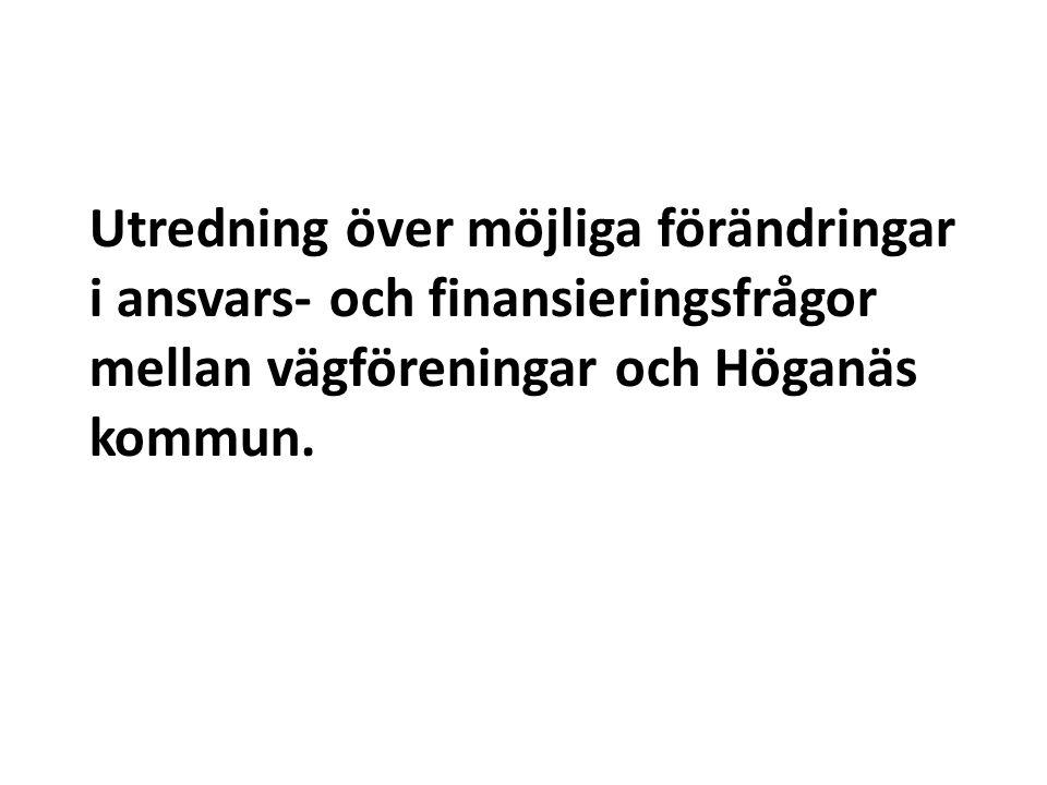 Utredning över möjliga förändringar i ansvars- och finansieringsfrågor mellan vägföreningar och Höganäs kommun.