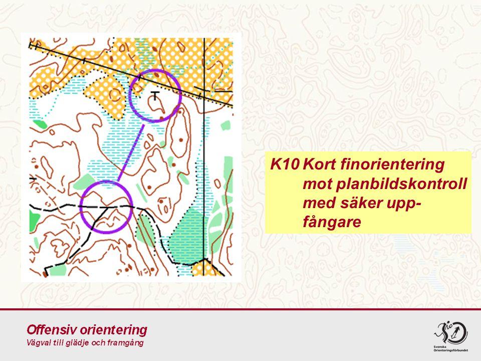 K10 Kort finorientering mot planbildskontroll med säker upp-fångare