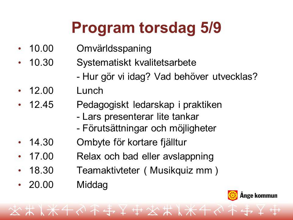 Program torsdag 5/9 10.00 Omvärldsspaning
