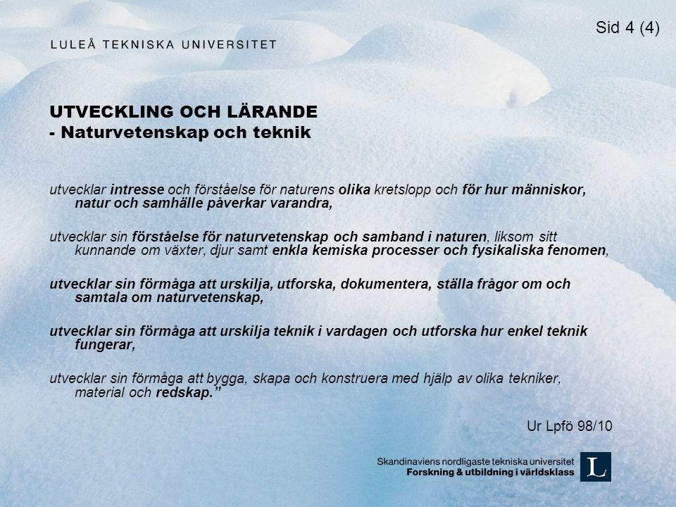 UTVECKLING OCH LÄRANDE - Naturvetenskap och teknik