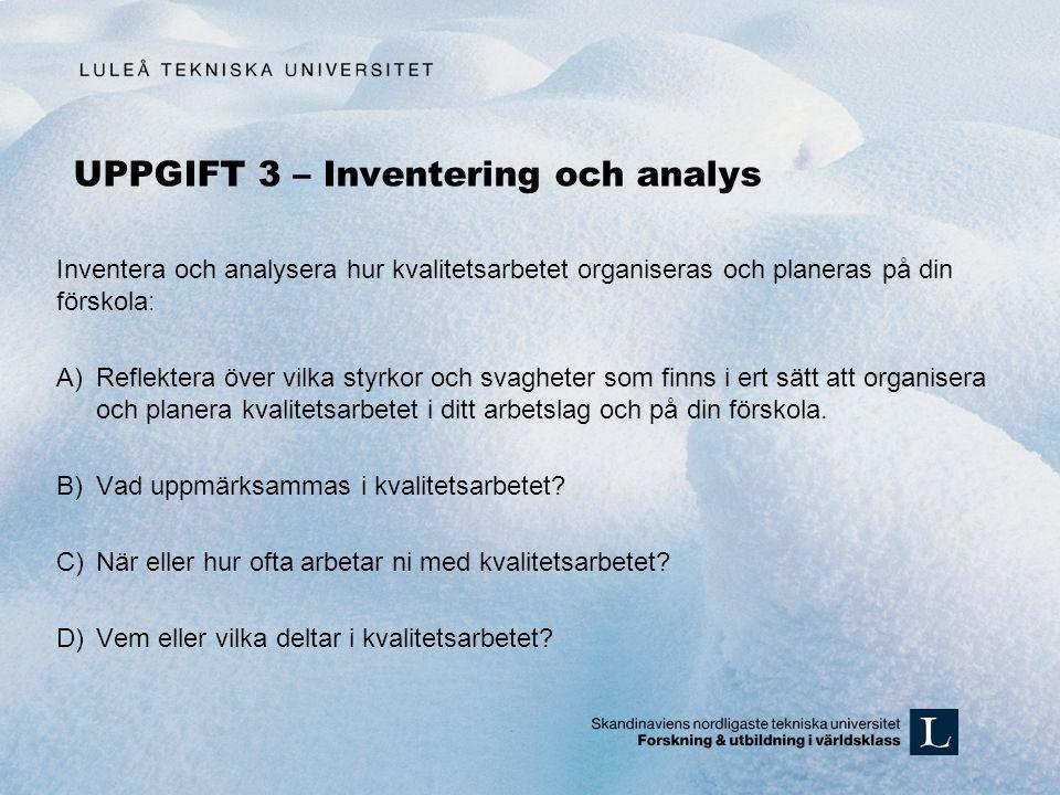 UPPGIFT 3 – Inventering och analys