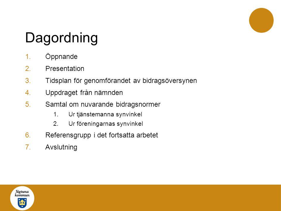 Dagordning Öppnande Presentation