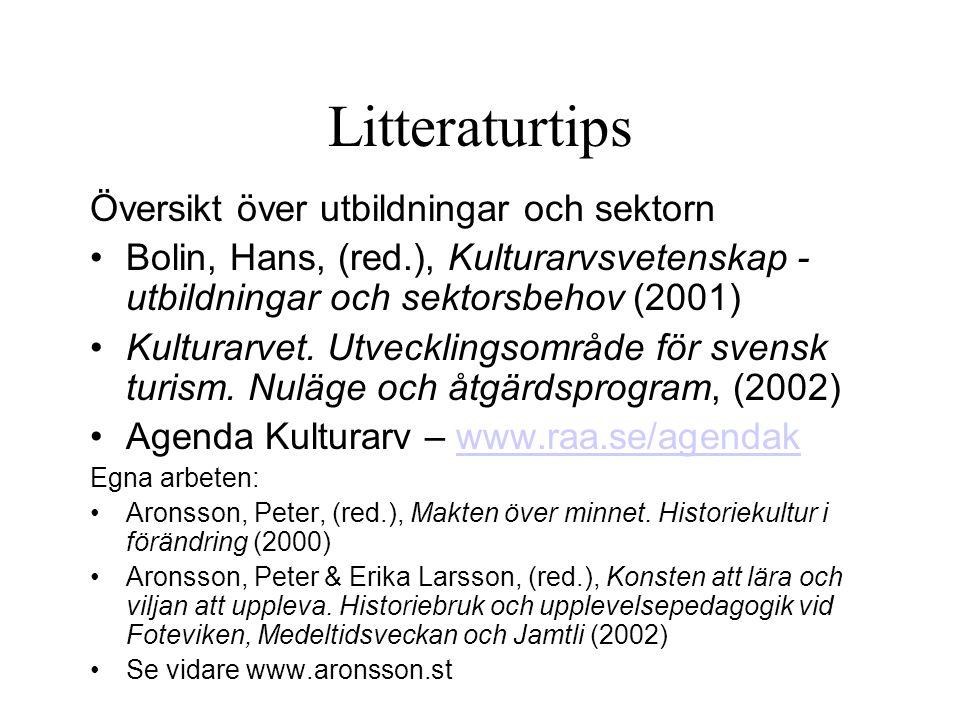 Litteraturtips Översikt över utbildningar och sektorn