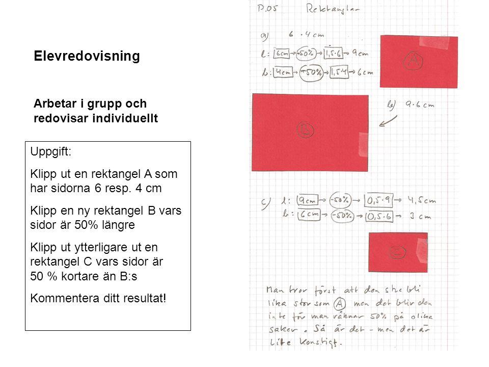 Elevredovisning Arbetar i grupp och redovisar individuellt Uppgift: