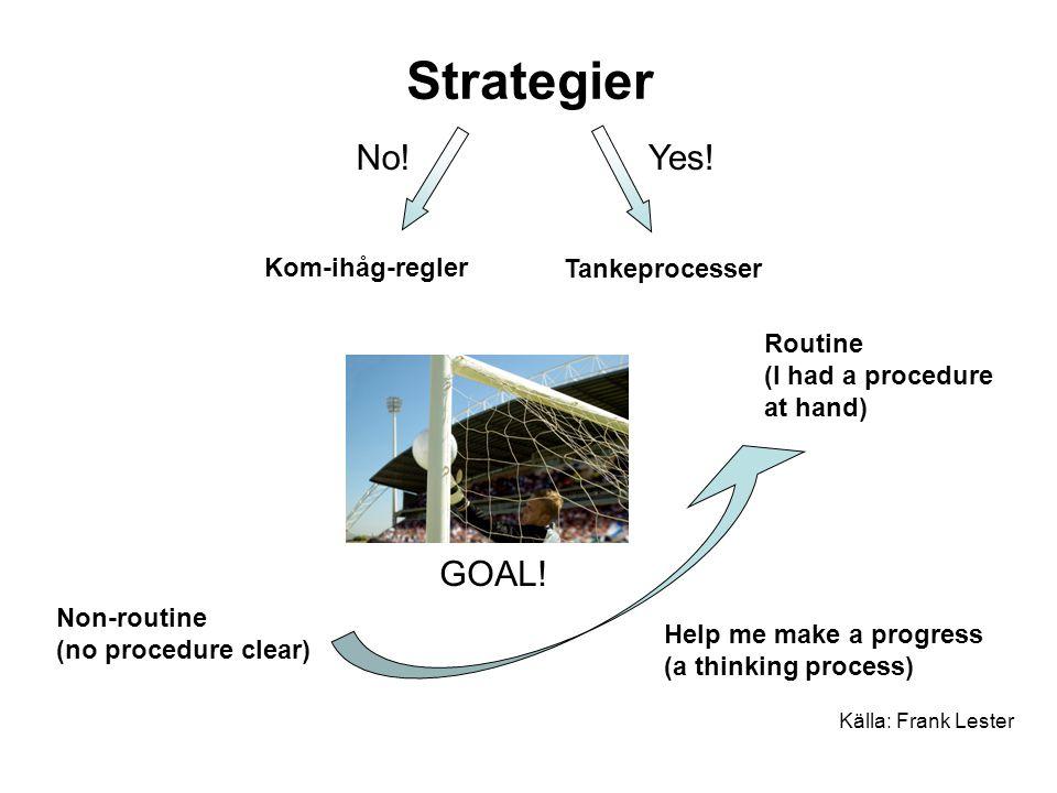 Strategier No! Yes! GOAL! Kom-ihåg-regler Tankeprocesser Routine