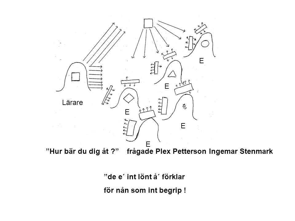 E E. Lärare. E. E. E. Hur bär du dig åt frågade Plex Petterson Ingemar Stenmark. de e´ int lönt å´ förklar.