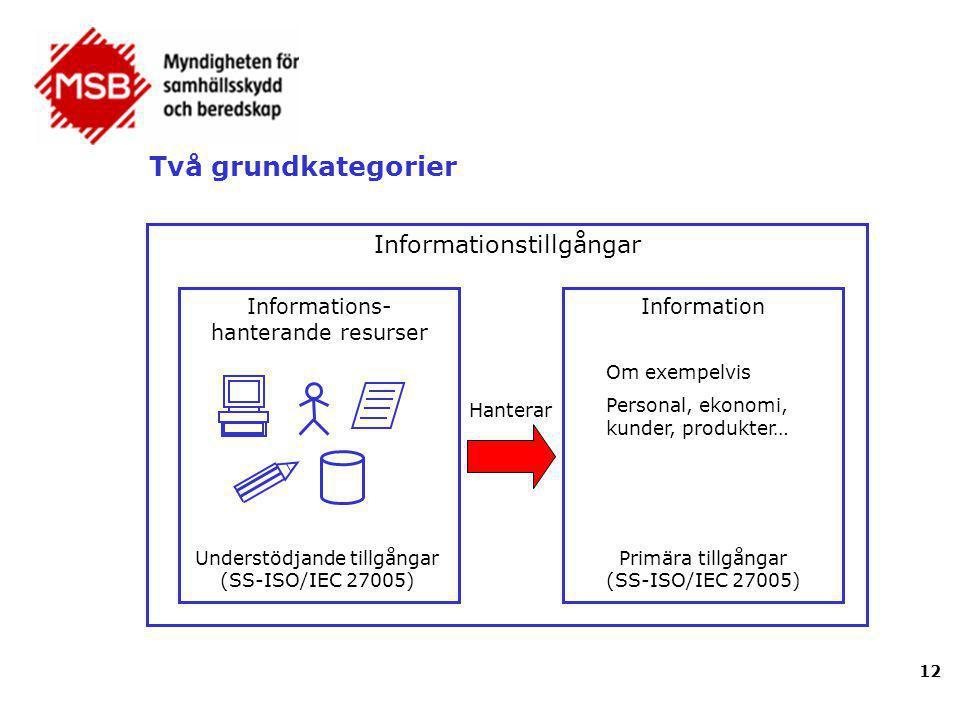 Två grundkategorier Informationstillgångar