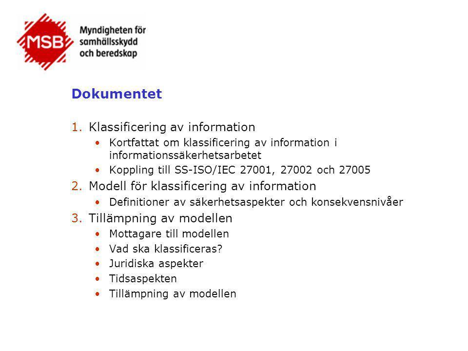 Dokumentet Klassificering av information