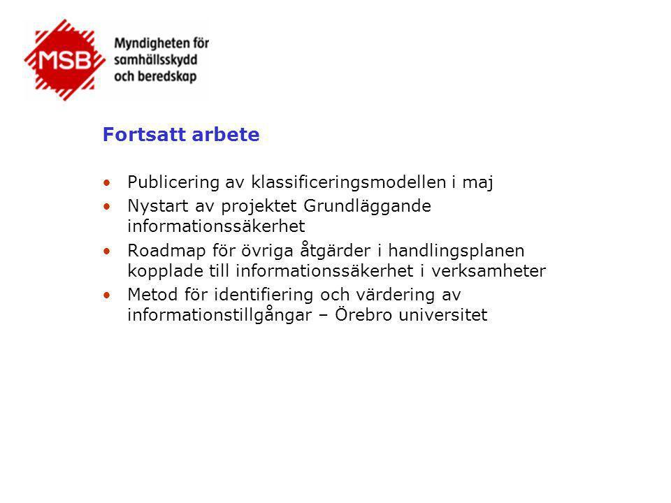 Fortsatt arbete Publicering av klassificeringsmodellen i maj
