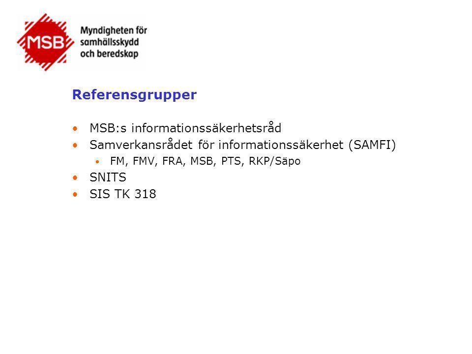 Referensgrupper MSB:s informationssäkerhetsråd