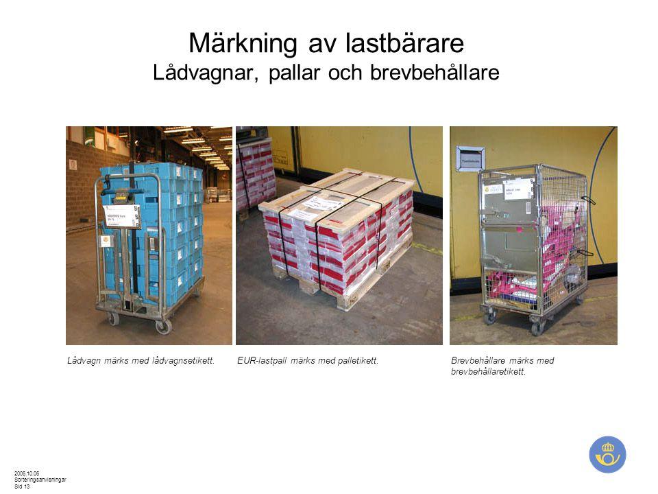Märkning av lastbärare Lådvagnar, pallar och brevbehållare