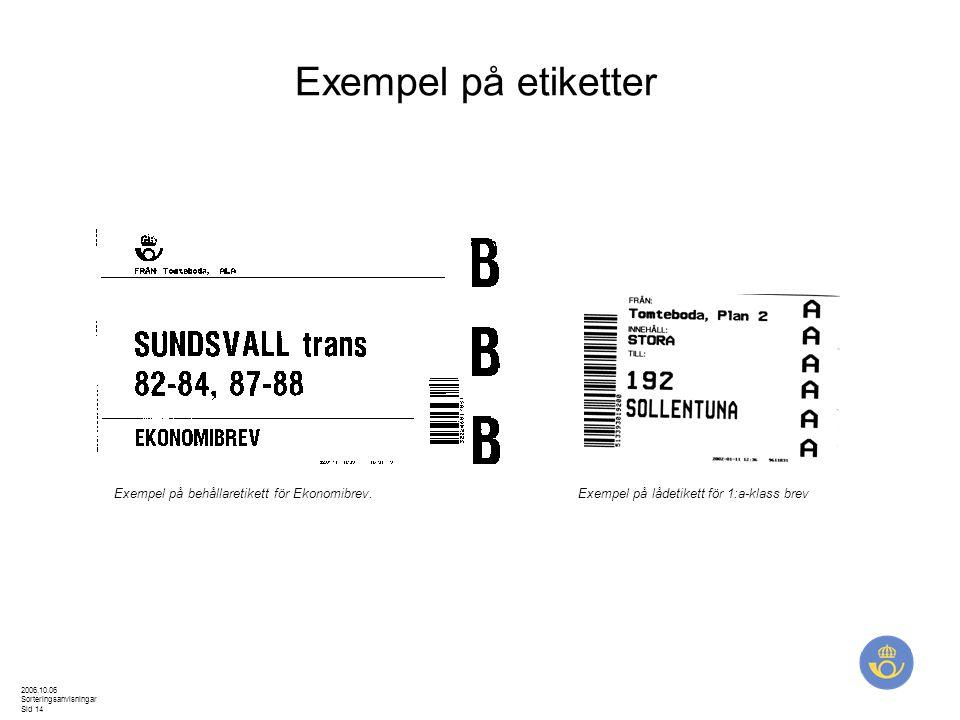 Exempel på etiketter Exempel på behållaretikett för Ekonomibrev.