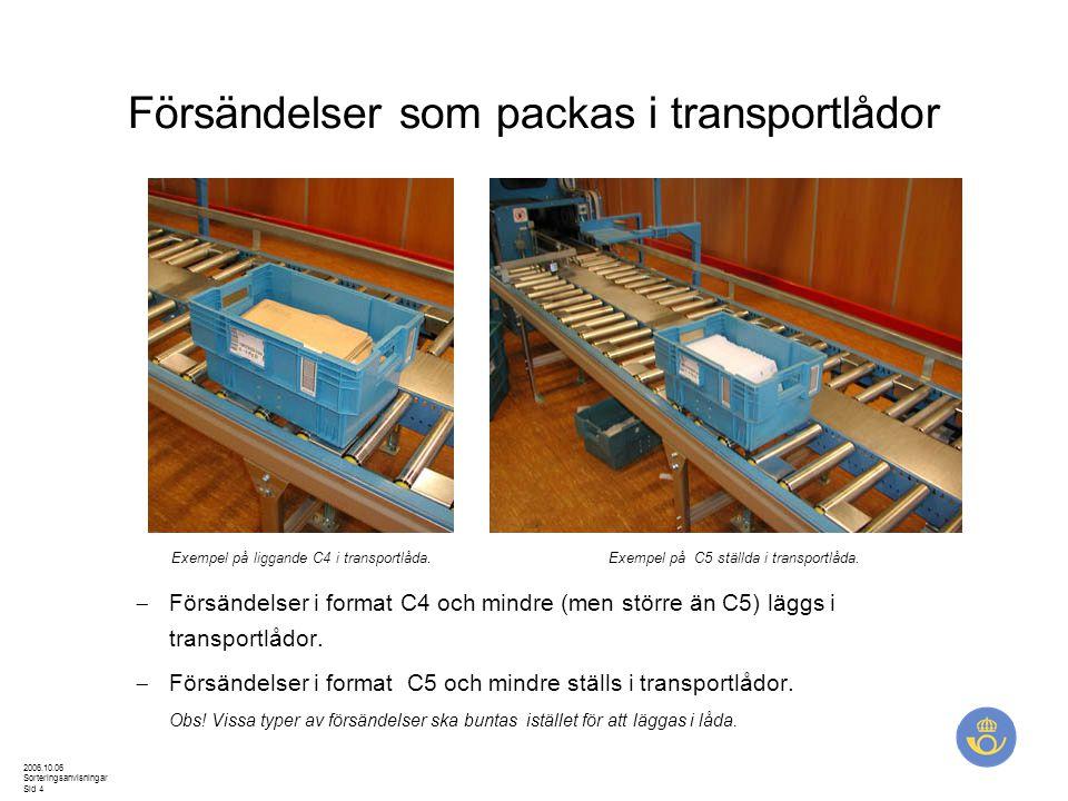 Försändelser som packas i transportlådor