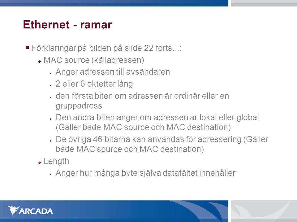 Ethernet - ramar Förklaringar på bilden på slide 22 forts...: