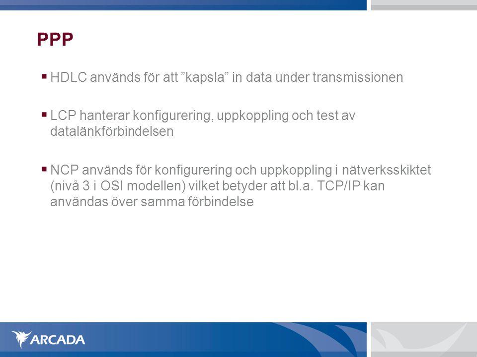 PPP HDLC används för att kapsla in data under transmissionen