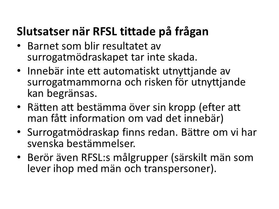 Slutsatser när RFSL tittade på frågan